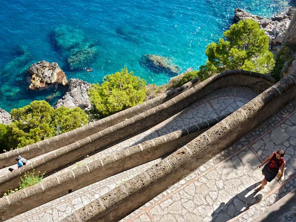 2.) Capri Island Path (Italy): This path is located on the Italian island of Capri, starting from an elevation of 400 feet high. The zigzagging Via Krupp, which was carved into the island
