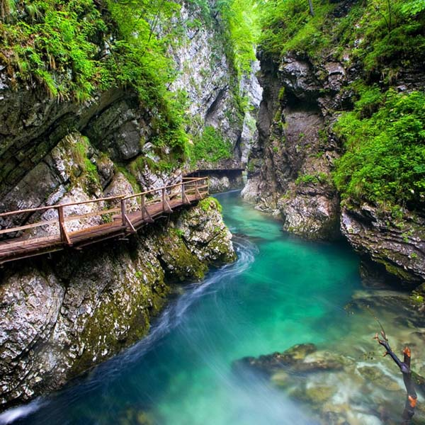 9.) Vintgar Gorge Trail (Slovenia): The Bled Gorge or Vintgar Gorge is located in Slovenia in the Municipality of Gorje. It was originally carved out by the Radovna River and the canyon walls are 160 to 330 feet high, with a total slope measuring about 820 feet.