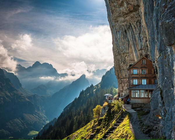 10.) Ebenalp Path (Switzerland): The Ebenalp is the northernmost summit of the Appenzell Alps. A path that leads up the mountain to the Aescher mountain restaurant is peppered with ancient caves and amazing views. Its one of the easiest paths on this list to tackle, as the hike would only take you about 20 minutes.