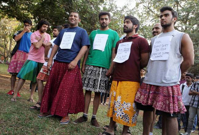 Men in India stand up for women after the government commented saying,