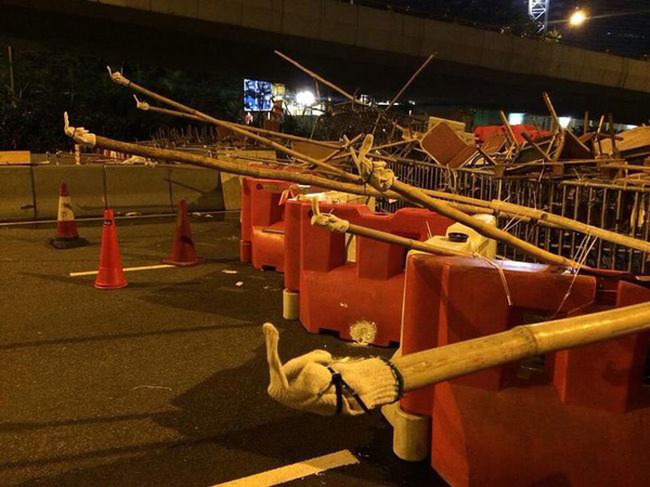 Hong Kong protestors created this road block.