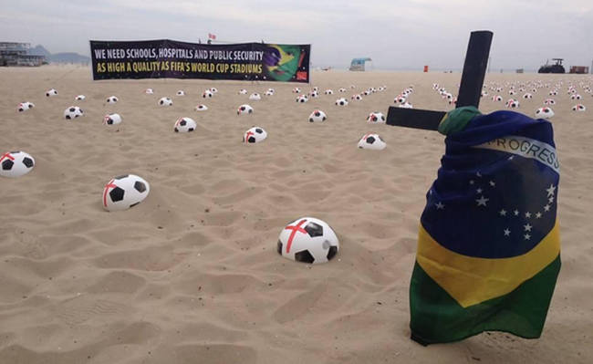 Brazilians protest the hypocrisy of hosting the World Cup.