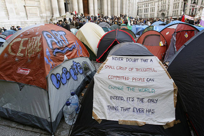 Powerful words on an tent during the Occupy events.