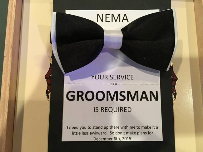 in this box is the most amazing groomsman invitation in the history