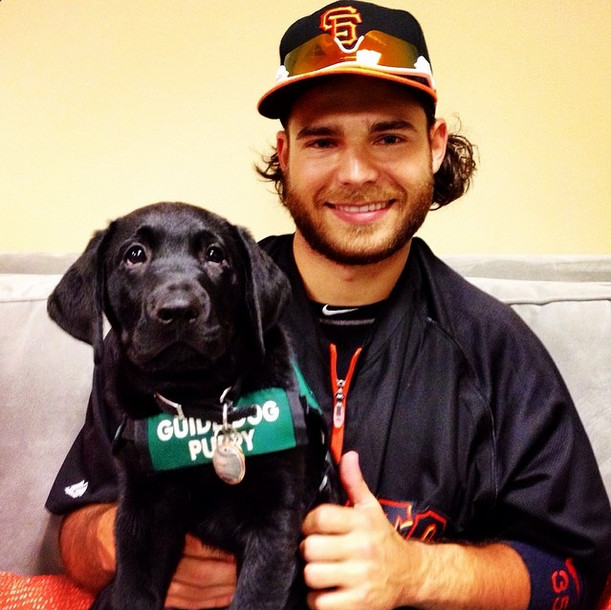 Being a guide dog in training has its perks, like meeting professional baseball players.
