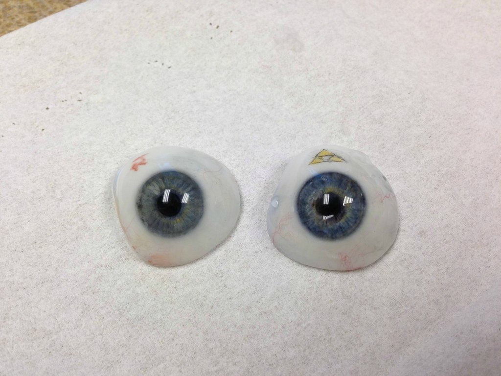 Side-by-side with the old prosthetic eye.