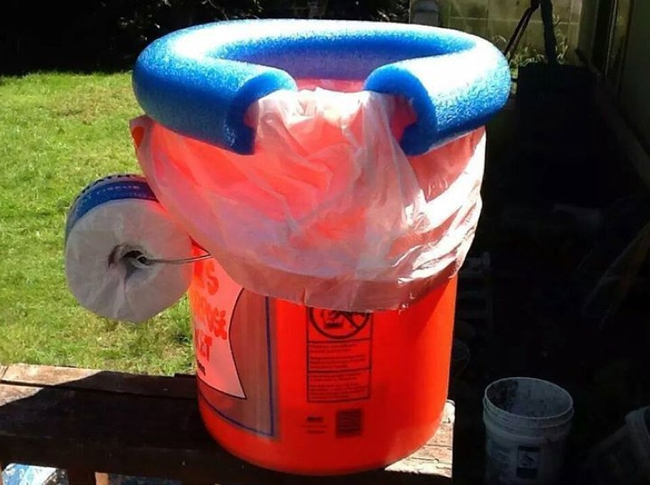 Bucket Toilet With Pool Noodle Seat